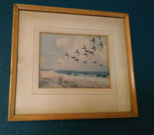 "AH166)Small framed print 8.5"" x 9.5"" geese ducks flying over sea/beach needs TLC"