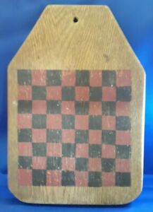 Antique Primitive Handmade Painted Checkerboard Early Bread Board