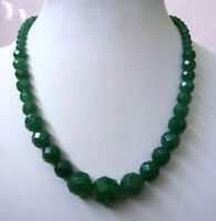 """Fashion 6-14mm Faceted Natural Green Jade Gemstone Round Beads Necklace 18"""" AAA"""