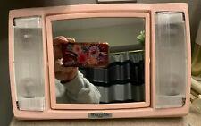 Vintage Travelite Lighted Makeup Mirror Pink with Pink Case