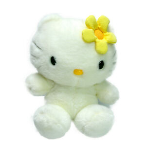 Hello Kitty White Yellow Flower Soft Plush Toy Washed and Clean 24cm Vintage