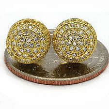 Earring Stud Round Screw Back Hip Hop Men's Gold Plated Iced Out Micropave Cz