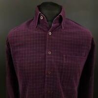 CANDA Mens Vintage Cord Shirt Print MEDIUM Long Sleeve Purple Regular Fit Check