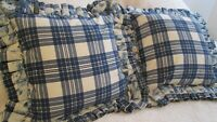 "Pair Borgata Blue White Plaid  Pillows Lge Double Ruffle Floral 19"" Square"