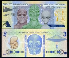 Earth Occupation, 3 Terrestrial Credits, ND (2014) Polymer, UNC Aliens, UFO