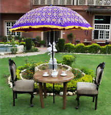 Purple garden umbrella big sun protect patio parasol silk zari embroidered work