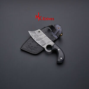 MK CUSTOM HAND MADE DAMASCUS  STEEL Fixed Finger Hole KNIFE WITH LEATHER SHEATH