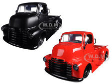 1952 CHEVROLET COE PICKUP TRUCK MATT BLACK/RED SET 2 CARS 1/24 JADA 97046-97461