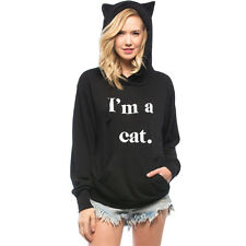 Women's Casual Sweater Letter Print 'I AM A Cat' Ear Pullover Hoodie Tops