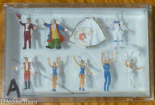 Preiser HO #20254A Circus Figures -- Ring Master, Clowns (2), Animal Trainer, Ac