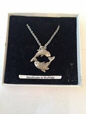 Pisces PP-SS01  Emblem on Silver Platinum Plated Necklace 18""