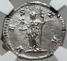 JULIA DOMNA Authentic Ancient 211AD Silver Roman Coin VESTA PALLADIUM NGC i82942