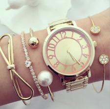 4pcs/set Women Gold Heart Love Full Crystal Chain Pearl Ball Bowknot Bracelet