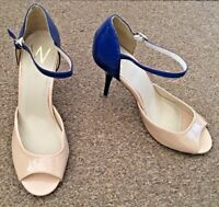Ladies Wallis Beige Blue High Heeled Shoes Ankle Strap Peep Toe Size 8 SB15