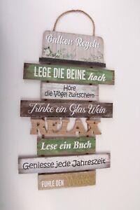 Holzschild Balkonregeln Regeln Holz Garten Bunt Garten Deko