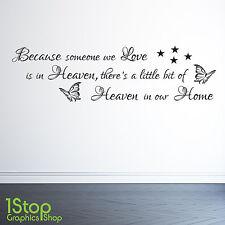 Porque ALGUIEN We Love Is In Cielo Adhesivo Pared Frase - Adhesivo mural X77