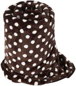 LARGE Chocolate Brown Polka Dot Mink FUR Blanket Sofa / Bed Throw 150X200cm