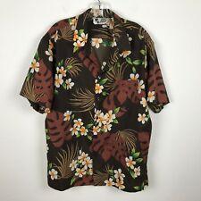 Vintage 1980s Hilo Hattie Hawaiian Shirt Size XL Aloha Brown Orange Floral Poly