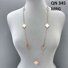 Matte Rose Gold Finished Long Cut out Open Closed Multi Clover Design Necklace