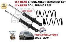 FOR TOYOTA COROLLA VERSO 2001-2004 2x REAR SHOCK ABSORBER STRUT + 2X COIL SPRING