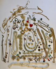 Mixed Lot of Jewelry for Repair Parts Crafts ~ Rhinestones Faux Pearls Clasps +