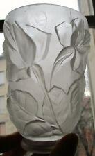 TULIPE verre pressé moulé  ART DÉCO décor de roses era Muller Degue pour lampe