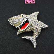 Charm Women's Brooch Pin Betsey Johnson White Rhinestone Shark