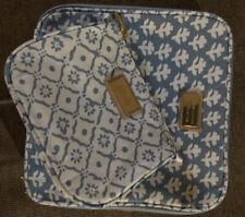 2PCs Aerin / Estee Lauder Signature Cosmetic Bag w/Print LIGHT BLUE GWP New