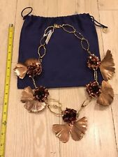 Monumental Tory Burch Gingko Leaf Necklace Bronze Tone Dust Bag Paid $750 NWT