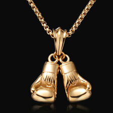 Herren Gold Kette mit Anhänger Boxhandschuh 750er Gold 18 Karat vergoldet 60cm