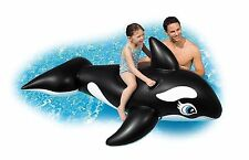 Inflatable Whale Ride-On + Handle Swim Pool Toy Age 3+ NEW