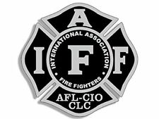 4x4 inch BLACK & GRAY Maltese Shaped IAFF AFL CIO Sticker -logo fire firefighter