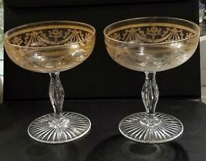 A Pair of Vintage Delicate Gold Trim Champagne Coupe Glasses