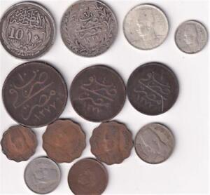 13 EGYPT COINS INCLUDING SILVER, EGYPTIAN MIDDLE EAST   T24