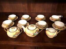 "19 Piece Antique Nippon Hand Painted Tea Set ""TN"" Mark - Serves 8"