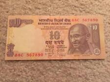 India 10 Rs Ascending Order Fancy Number '567890' UNC Condition