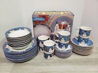 Sakura Debbie Mumm 1998 Snowman Set- 46 Pieces- Plates, Mugs, Platter- Christmas