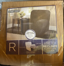 Maytex Collin Stretch 4 Piece Recliner Chair Furniture Cover Slipcover, Black