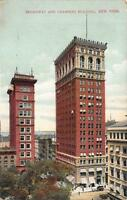 NY, New York        BROADWAY AND CHAMBERS BUILDING          c1910's Postcard