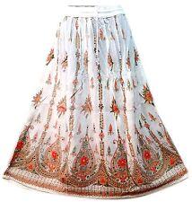 Indian Long Sequin belly skirt Women full length Maxi Skirt Boho Hippie Orange