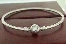 "Authentic Pandora 590713-21 8.3"" Bangle Sterling Silver Snap Bracelet"