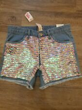 NWT Justice Girls Jean Shorts size 16 reversible sequins pastels/ silver NEW
