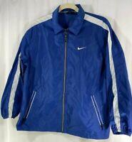 Nike Mens Nylon Unlined Lightweight Windbreaker Jacket Blue White  L