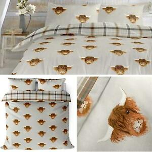 Grey Duvet Covers Highland Cow Tartan Check Reversible Quilt Cover Bedding Sets