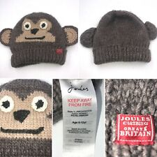 Joules Brown Winter Cheeky Monkey Woolly Hat M/L 8-12 Years Boys Girls Childrens
