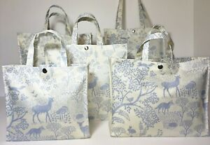 UK Handmade 100% Cotton Oilcloth Tote Bags, Woodland Life, Blue, Many Sizes