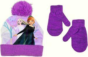 DISNEY FROZEN 2 ELSA & ANNA Knit Sublimated Beanie Winter Hat & Mittens Set