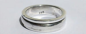 Narrow Recessed Sterling Silver Domed Spinner Worry Meditation Ring - Sz  8 3/4