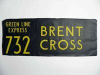 Vintage bus destination blind Green Line Express Brent Cross screen print linen
