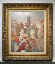 "Large HUGO CASAR Oil Painting. ""Two Girls"" & Flowers Gilt Frame Impressionist"